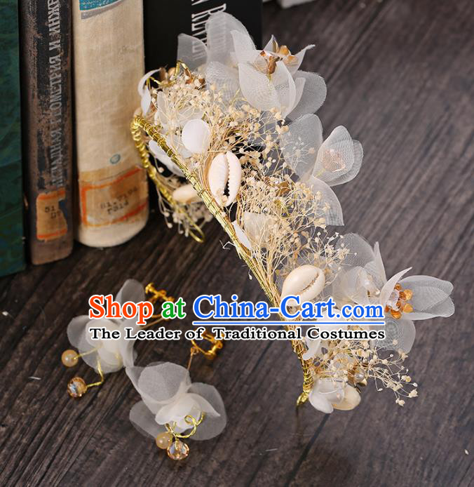 Top Grade Handmade Hair Accessories Baroque Style Palace Princess Wedding White Silk Flowers Vintage Royal Crown and Earrings, Bride Hair Kether Jewellery Imperial Crown for Women