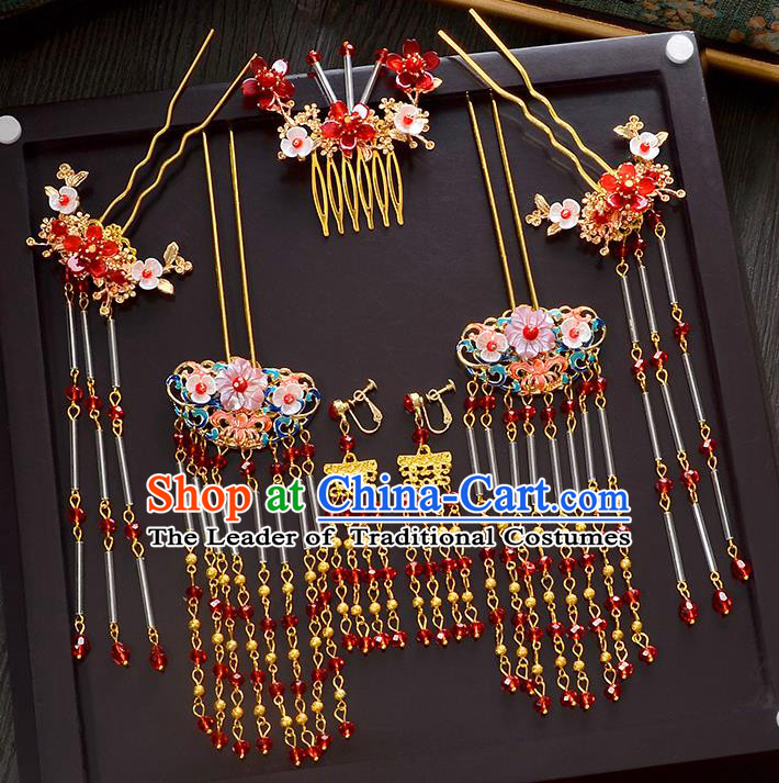 Traditional Handmade Chinese Ancient Wedding Xiuhe Suit Hair Accessories Cheongsam Tassel Hair Comb Complete Set, Bride Palace Lady Step Shake Hanfu Hairpins for Women