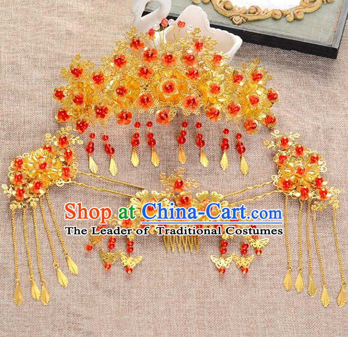 Traditional Handmade Chinese Ancient Wedding Xiuhe Suit Hair Accessories Cheongsam Tassel Phoenix Coronet Complete Set, Bride Palace Lady Step Shake Hanfu Hairpins for Women