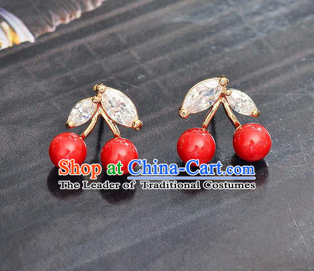Top Grade Handmade Chinese Classical Jewelry Accessories Wedding Crystal Cherry Earrings Bride Hanfu Eardrop for Women