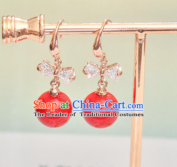 Top Grade Handmade Chinese Classical Jewelry Accessories Wedding Crystal Red Pearl Earrings Bride Hanfu Eardrop for Women