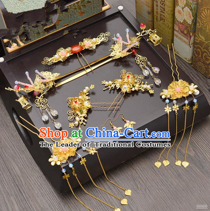 Traditional Handmade Chinese Ancient Wedding Butterfly Hair Accessories Complete Set Xiuhe Suit Hair Comb, Bride Palace Lady Tassel Step Shake Hanfu Hairpins for Women