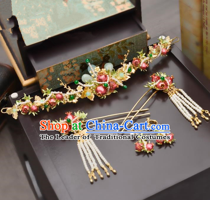 Traditional Handmade Chinese Ancient Costume Wedding Xiuhe Suit Bride Pomegranate Phoenix Coronet Hair Accessories Complete Set, Palace Lady Tassel Step Shake Hanfu Hairpins for Women