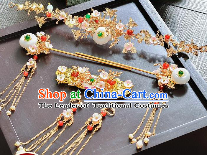 Traditional Handmade Chinese Ancient Costume Wedding Xiuhe Suit Bride Jade Phoenix Coronet Hair Accessories Complete Set, Step Shake Hanfu Hairpins for Women