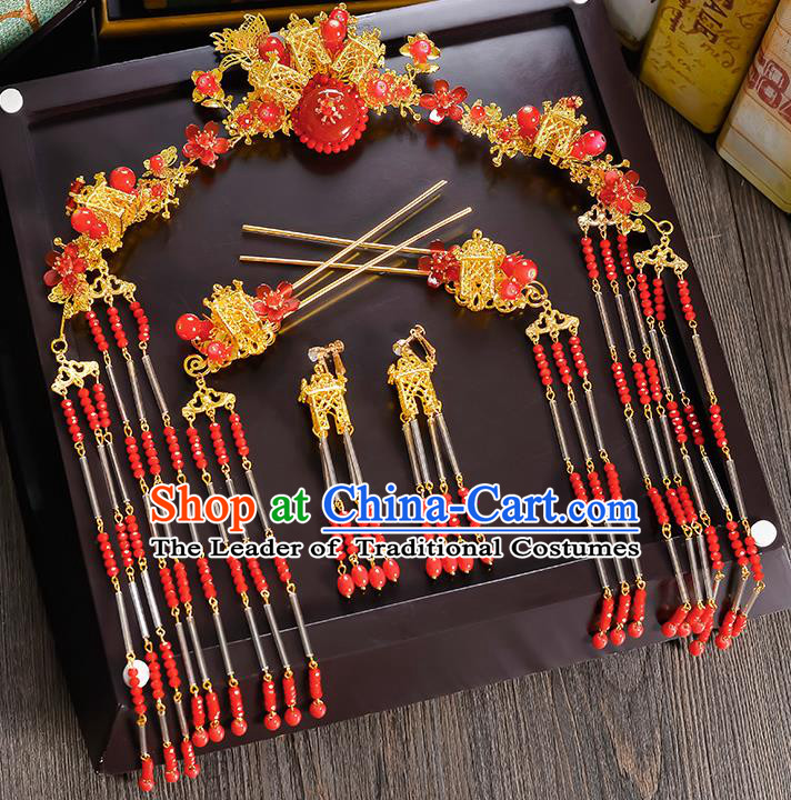 Traditional Handmade Chinese Ancient Costume Wedding Xiuhe Suit Bride Red Beads Tassel Phoenix Coronet Hair Accessories Complete Set, Step Shake Hanfu Hairpins for Women