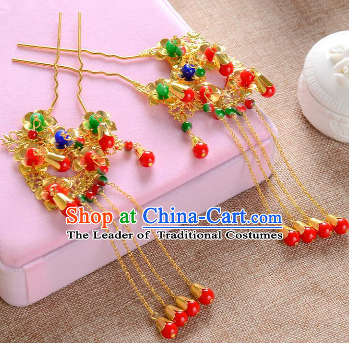 Traditional Handmade Chinese Wedding Xiuhe Suit Bride Hair Accessories Tassel Hairpins, Step Shake Hanfu Hairpins for Women