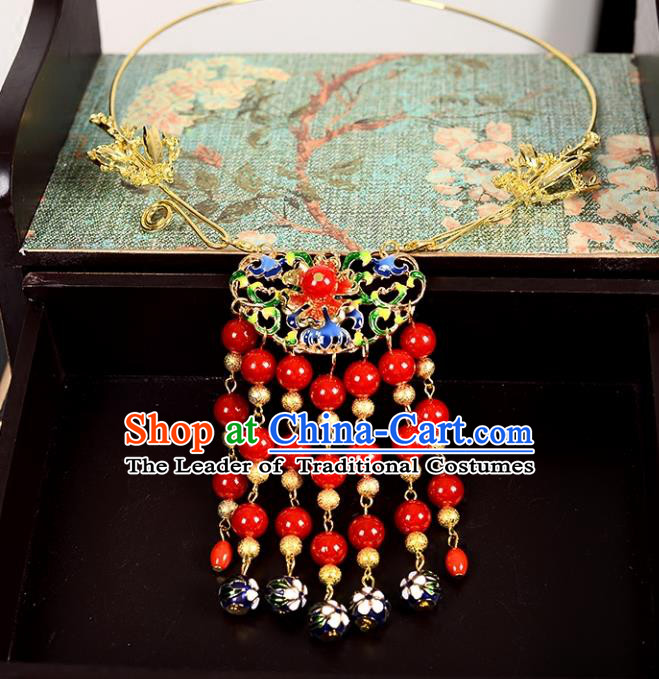 Top Grade Handmade Chinese Classical Jewelry Accessories Wedding Xiuhe Suit Red Beads Tassel Necklace Bride Hanfu Necklet Headgear for Women