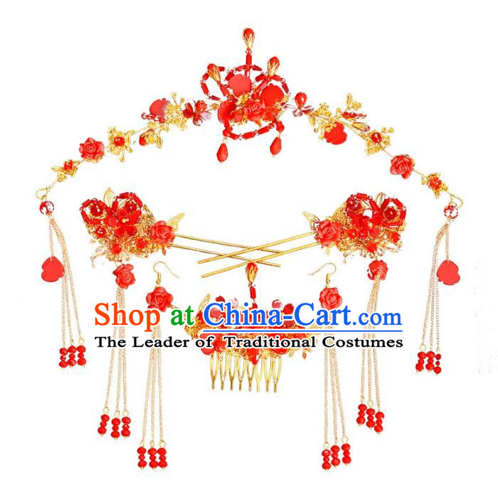 Traditional Handmade Chinese Wedding Xiuhe Suit Bride Hair Accessories Red Beads Phoenix Coronet Complete Set, Tassel Step Shake Hanfu Hairpins for Women