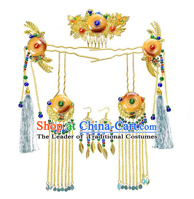 Traditional Handmade Chinese Wedding Xiuhe Suit Bride Hair Accessories Jade Phoenix Coronet Complete Set, Tassel Step Shake Hanfu Hairpins for Women