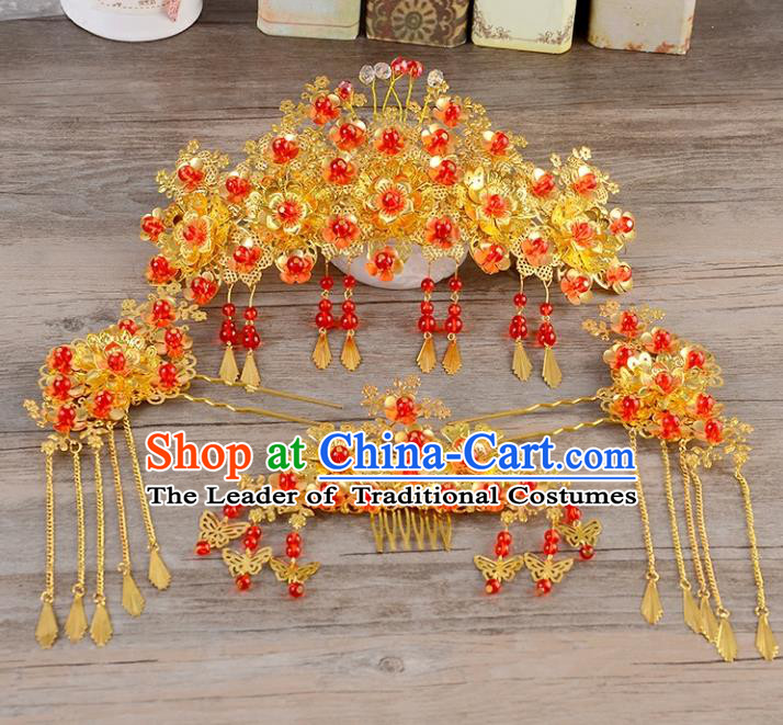 Traditional Handmade Chinese Wedding Xiuhe Suit Bride Hair Accessories Complete Set, Tassel Hair Comb Phoenix Coronet Step Shake Hanfu Hairpins for Women