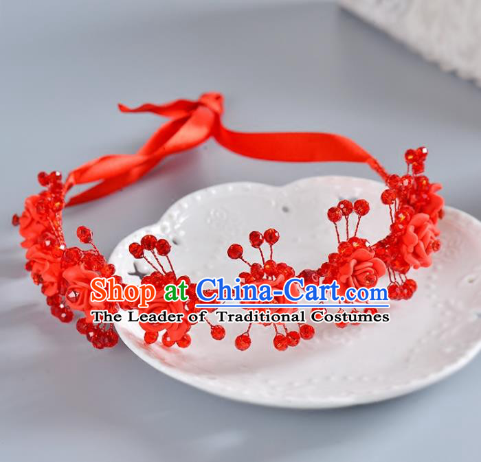 Top Grade Handmade Chinese Classical Hair Accessories Princess Wedding Baroque Headwear Red Rose Hair Clasp Bride Headband for Women