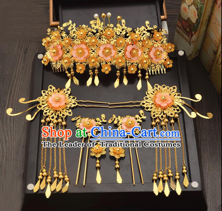 Traditional Handmade Chinese Wedding Xiuhe Suit Bride Hair Accessories Complete Set, Tassel Pink Flowers Phoenix Coronet Step Shake Hanfu Hairpins for Women