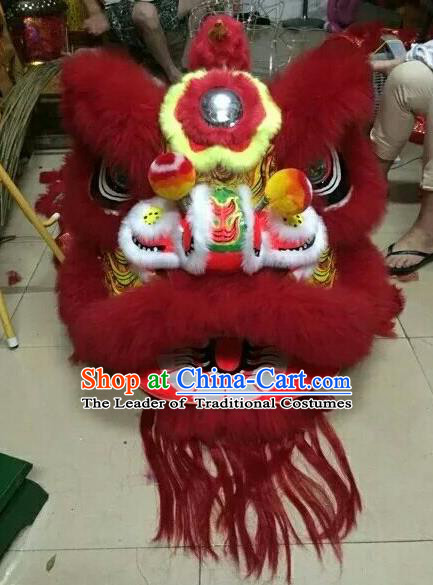 World Lion Dance Competition Red Fur Lion Head Lion Dance Costumes Complete Set for Adult