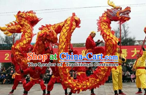 World Dragon Dance Competition Red Dragon Head Lion Dance Costumes Complete Set for Adult