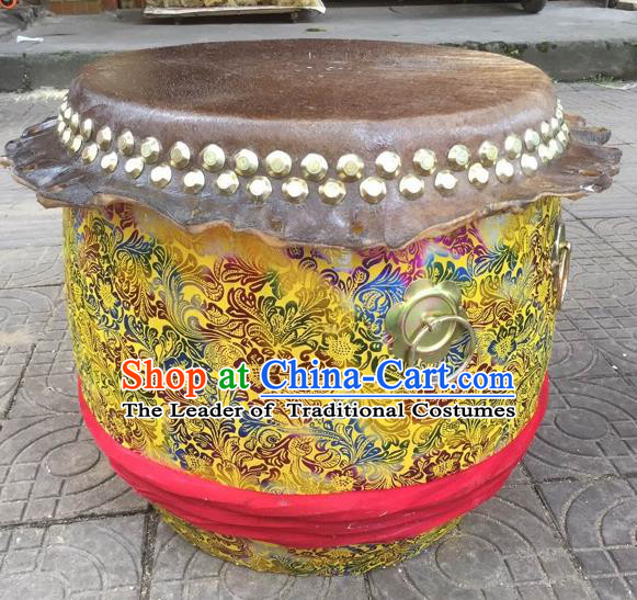 Dragon Dance Lion Dance Yellow Drum Cowhide Drum Cart Musical Instrument Tupan Complete Set