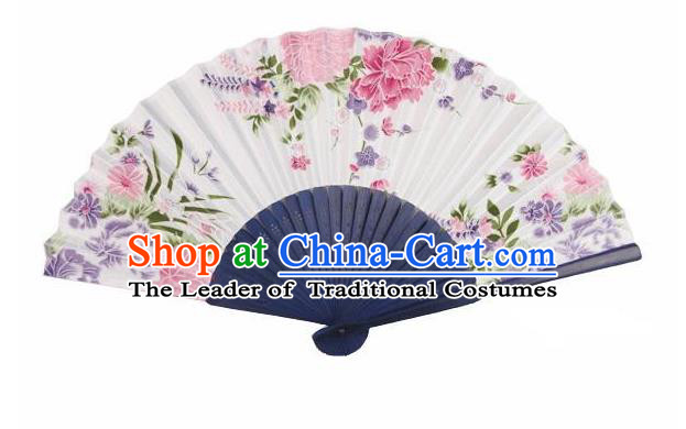 Traditional Chinese Crafts Silk Folding Fan China Sensu Japan Printing Flowers Dance Accordion Fan for Women