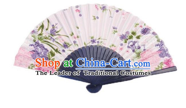 Traditional Chinese Crafts Silk Folding Fan China Sensu Japan Printing Flowers Dance Pink Accordion Fan for Women