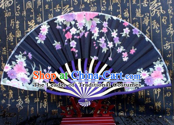 Traditional Chinese Crafts Peking Opera Folding Fan China Sensu Printing Flowers Japan Black Silk Fan for Women