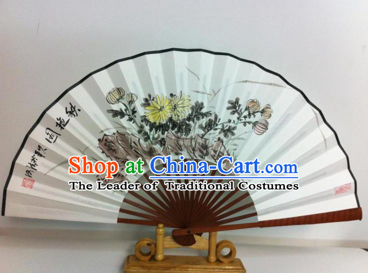 Traditional Chinese Crafts Peking Opera Folding Fan China Sensu Printing Chrysanthemum White Paper Fan for Women