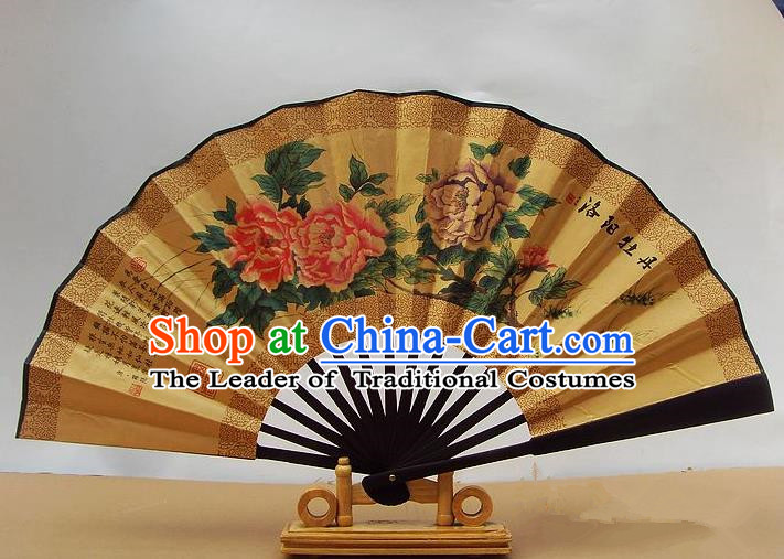 Traditional Chinese Crafts Peking Opera Folding Fan China Sensu Hand Painting Luoyang Peony Paper Fan