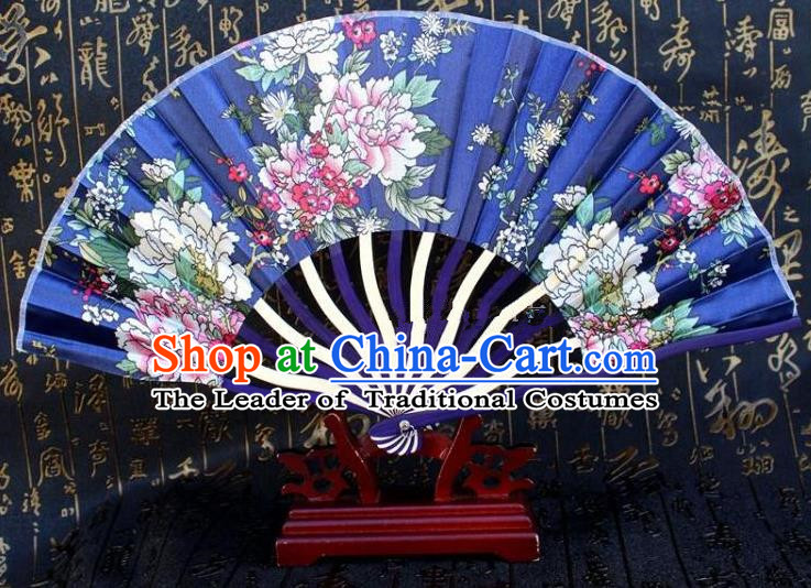 Traditional Chinese Crafts Peking Opera Folding Fan China Sensu Printing Flowers Japan Blue Silk Fan for Women