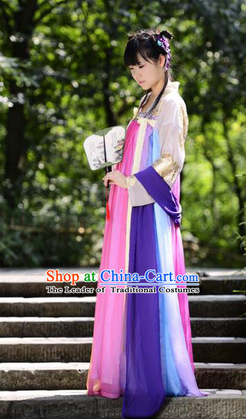 Traditional Chinese Tang Dynasty Young Lady Hanfu Costume, China Ancient Princess Rainbow Dress Clothing for Women