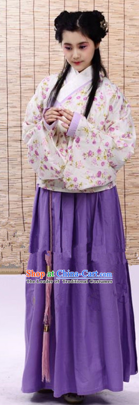 Traditional Chinese Ming Dynasty Young Lady Costume Purple Blouse and Skirt, China Ancient Hanfu Dress Princess Embroidery Clothing for Women