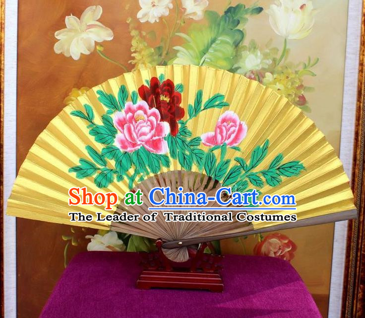 Traditional Chinese Crafts Peking Opera Folding Fan China Sensu Handmade Chinese Painting Peony Golden Paint Fan for Women
