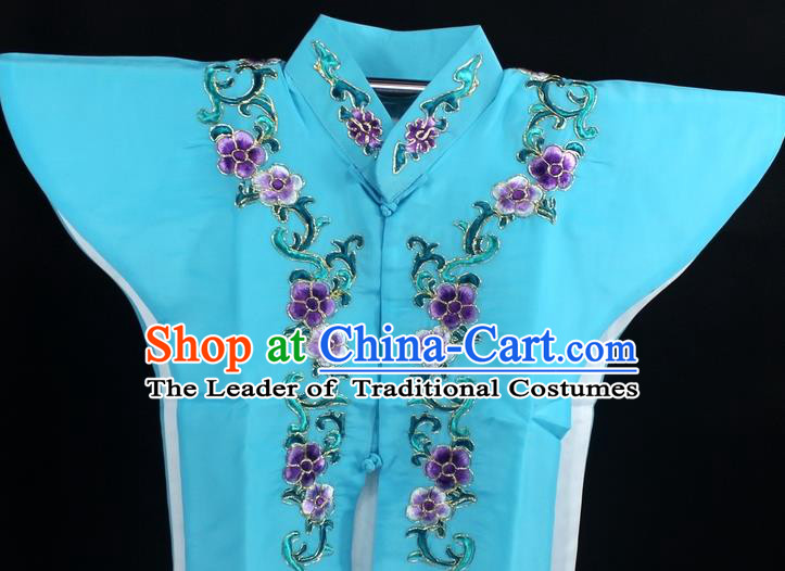 Traditional China Beijing Opera Young Lady Costume Blue Collar Protectors, Ancient Chinese Peking Opera Embroidery Clothing