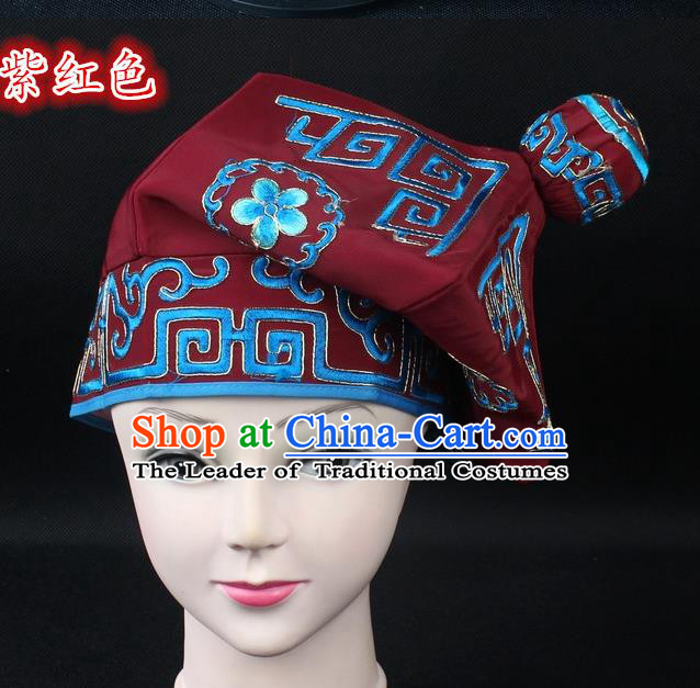 Traditional China Beijing Opera Takefu Hat, Ancient Chinese Peking Opera Martial Arts Men Headwear Embroidery Purplish Red Kerchief