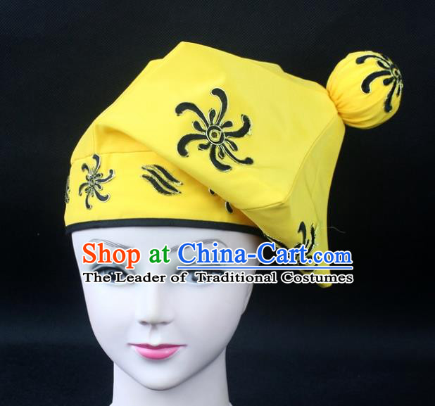 Traditional China Beijing Opera Takefu Hat, Ancient Chinese Peking Opera Martial Arts Men Headwear Embroidery Handsome Monkey King Kerchief