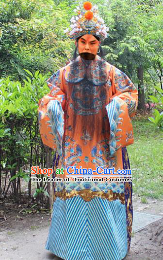 Traditional China Beijing Opera Niche Costume Emperor Embroidered Robe and Headwear, Ancient Chinese Peking Opera Embroidery Royal Highness Gwanbok Clothing