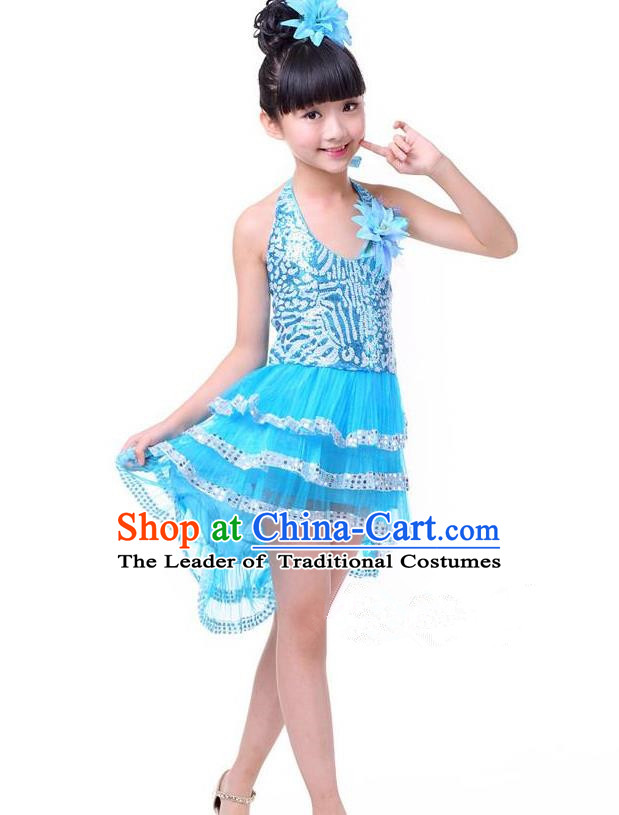 Top Grade Chinese Compere Professional Performance Catwalks Costume, Children Blue Bubble Dress Modern Dance Dress for Girls Kids