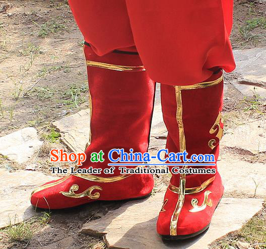 Traditional China Beijing Opera Warrior Embroidered Shoes, Ancient Chinese Peking Opera Soldier Takefu Red Boots