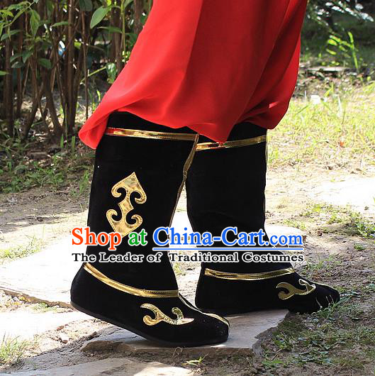 Traditional China Beijing Opera Warrior Embroidered Shoes, Ancient Chinese Peking Opera Soldier Takefu Black Boots
