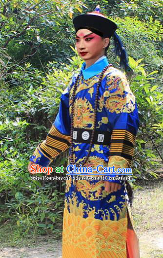 Traditional China Beijing Opera Niche Costume Qing Dynasty Eunuch Embroidered Robe and Hat, Ancient Chinese Peking Opera Manchu Royal Highness Embroidery Blue Gwanbok Clothing