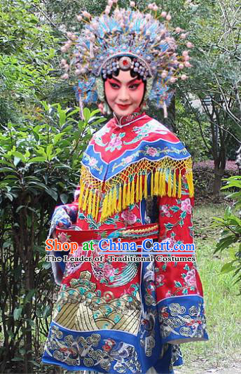 Traditional China Beijing Opera Young Lady Hua Tan Costume Imperial Concubine Embroidered Robe and Headwear, Ancient Chinese Peking Opera Female Diva Embroidery Dress Clothing