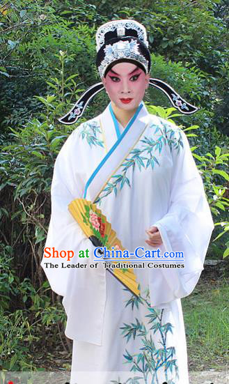 Traditional China Beijing Opera Niche Costume Scholar Embroidered Robe and Headwear, Ancient Chinese Peking Opera Embroidery White Xiucai Gwanbok Clothing