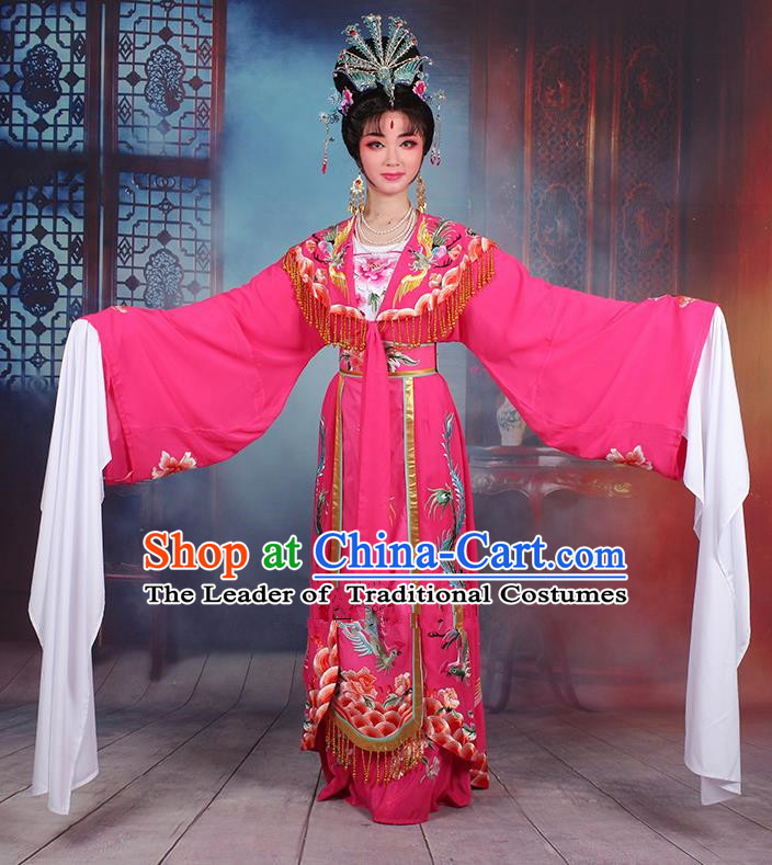 Traditional China Beijing Opera Young Lady Hua Tan Costume Diva Rosy Embroidered Cape, Ancient Chinese Peking Opera Imperial Concubine Embroidery Dress Clothing