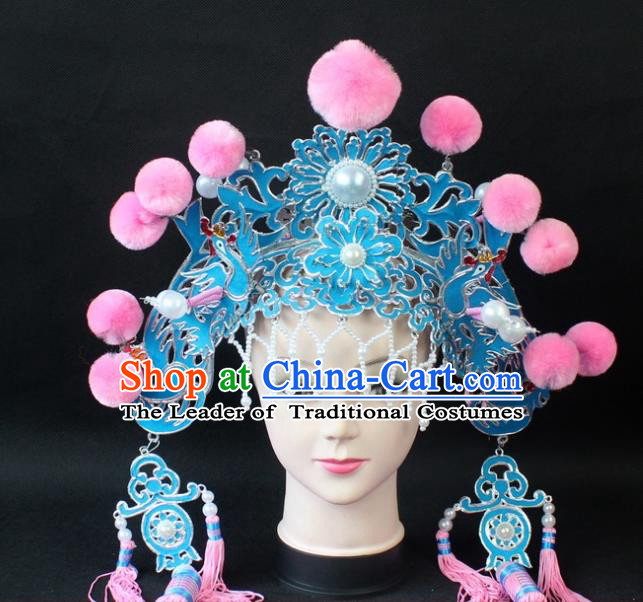 Traditional China Beijing Opera Lang Scholar Niche Hat, Ancient Chinese Peking Opera Eunuch Pink Venonat Cap Headwear Prime Minister Hat