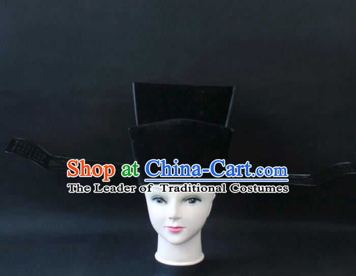 Traditional China Beijing Opera Headpiece Prime Minister Hat, Ancient Chinese Peking Opera Chancellor Hat Headwear