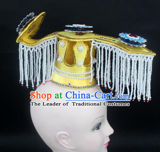 Traditional China Beijing Opera Hair Accessories Emperor Tuinga, Ancient Chinese Peking Opera King Headwear