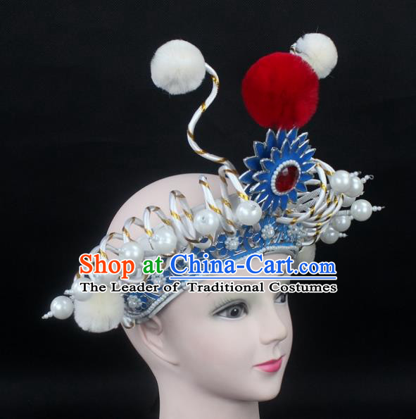 Traditional China Beijing Opera Swordplay Hair Accessories Pearls Hat, Ancient Chinese Peking Opera Blues Headwear