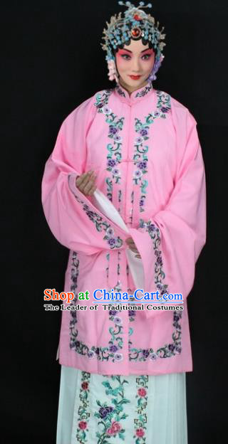 Traditional China Beijing Opera Young Lady Hua Tan Costume Pink Embroidered Shawl, Ancient Chinese Peking Opera Female Diva Embroidery Dress Clothing