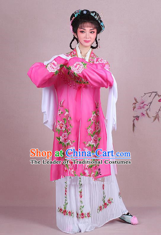 Traditional China Beijing Opera Young Lady Hua Tan Costume Embroidered Pink Shawl, Ancient Chinese Peking Opera Diva Embroidery Dress Clothing