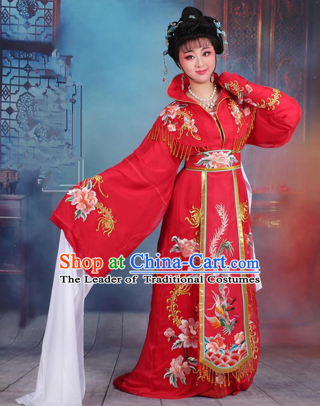 Traditional China Beijing Opera Palace Lady Hua Tan Costume Red Embroidered Dress, Ancient Chinese Peking Opera Diva Senior Concubine Embroidery Peony Clothing