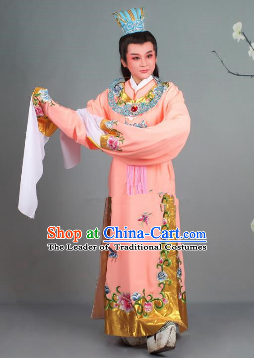 Traditional China Beijing Opera Niche Costume Gifted Scholar Jia Baoyu Pink Embroidered Robe and Hat, Ancient Chinese Peking Opera Young Men Embroidery Peony Clothing