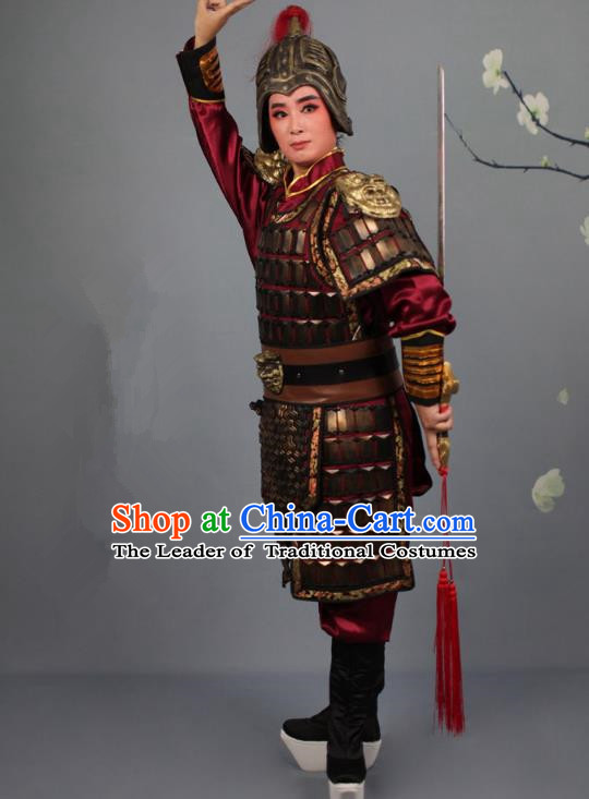 Traditional China Beijing Opera Swordplay Helmet and Armour Costume, Ancient Chinese Peking Opera Blues Female General Clothing