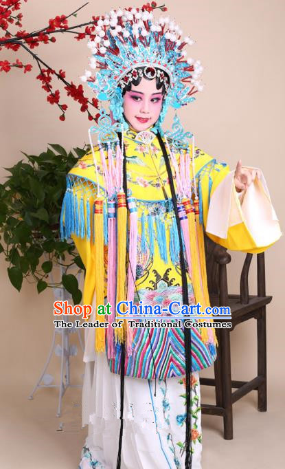 Traditional China Beijing Opera Palace Lady Costume Senior Concubine Yellow Embroidered Robe Dress, Ancient Chinese Peking Opera Diva Hua Tan Embroidery Clothing for Kids