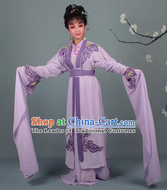 Top Grade Professional Beijing Opera Palace Lady Costume Hua Tan Purple Water Sleeve Embroidered Clothing, Traditional Ancient Chinese Peking Opera Diva Embroidery Lotus Clothing